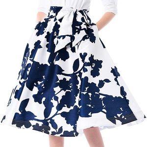 eShakti Sash tie Floral Print Dupioni Skirt